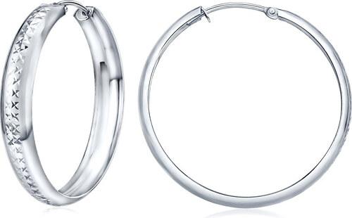 Stříbrné náušnice kruhy 30 mm s ozdobným rytím SILVEGOB30564-30p ... ad826cfc8cd