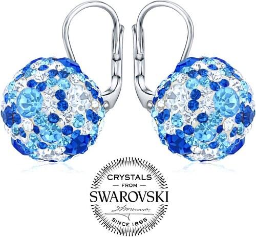 stříbrné náušnice kuličky se Swarovski Crystals tmavě modrá SILVEGOB36120db 446e3696724