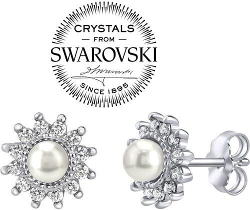 SILVEGO stříbrné náušnice s bílou perlou Swarovski na puzetu YO3566SW 0c3ada92c44