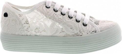 MTNG Bílé krajkové tenisky s vysokou podrážkou MTNG - Glami.cz 2378638f61