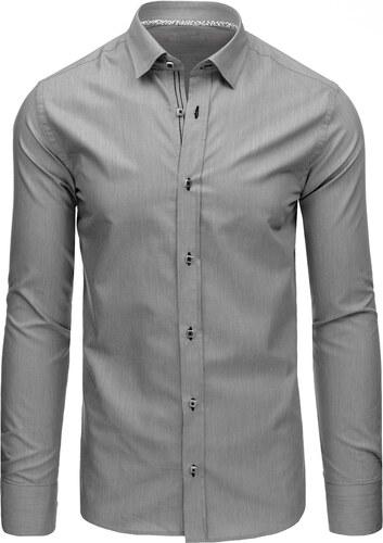 56b5978e3ec7 Elegantná pánska sivá károvaná košeľa s dlhými rukávmi (dx1369 ...