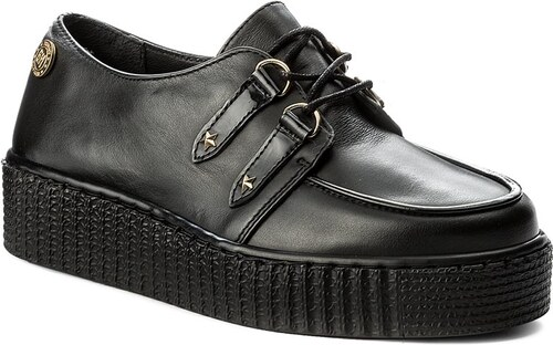 Pantofi TOMMY HILFIGER - Gigi Hadid Creeper Shoe FW0FW02200 Black ... 6ab6dfc785