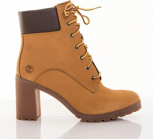 b0176d1c2e Dámske žlté kožené zimné topánky na opätku Timberland Allington 6-INCH