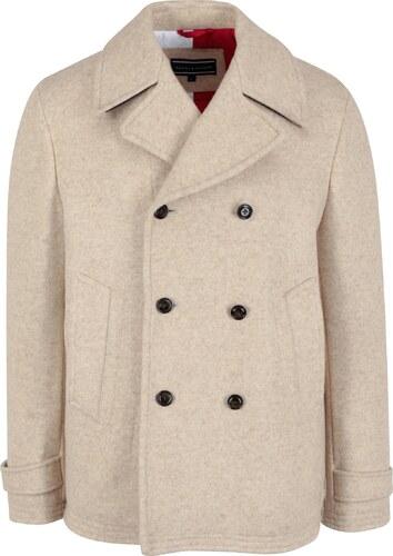 Béžový pánský krátký vlněný kabát Tommy Hilfiger Jersey - Glami.cz c78cf8e5ae