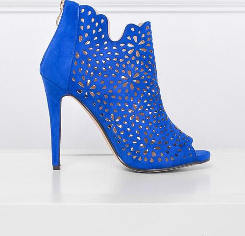 207f2e347e2 BASIC Modré boty na vysokém podpatku - 3662 - Glami.cz