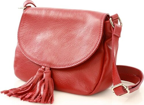 1215ead5bb Kožená červená crossbody kabelka MAZZINI (l57h) Odstíny barev  červená