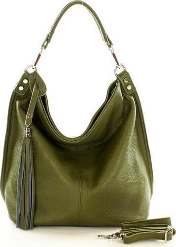 Zelená kožená kabelka s třásněmi Mazzini (s105l) - Glami.cz 43b04a1de12