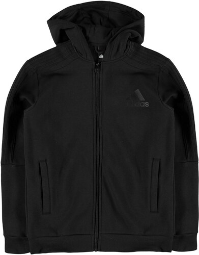 adidas 3S Logo Full Zip dětská mikina Boys Triple Black - Glami.cz bc6d7b43723