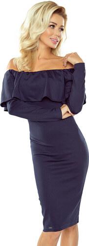 c4c3e3c7454 numoco Tmavě modré španělské šaty s dlouhým rukávem 156-1 - Glami.cz