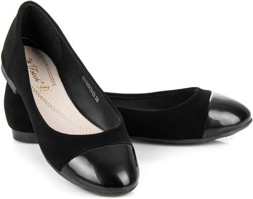 657ead3cdb8a W. POTOCKI Elegantné čierne semišové balerínky s lakovanou špičkou ...