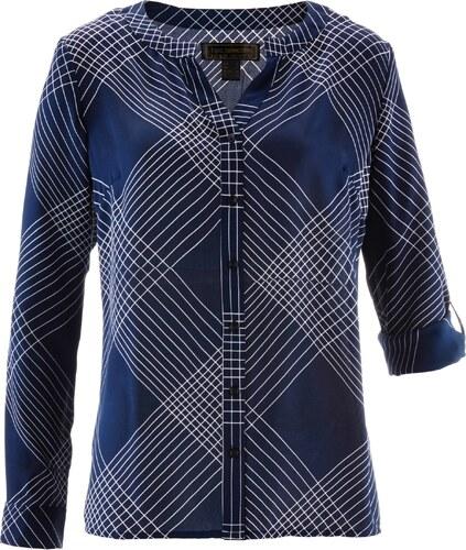 bpc selection bonprix chemisier imprim carreaux bleu manches longues pour femme. Black Bedroom Furniture Sets. Home Design Ideas