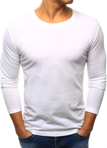 1177b74e3b37 Pánske jednofarebné tričko s dlhým rukávom (lx0415) - biele 07-lx0415