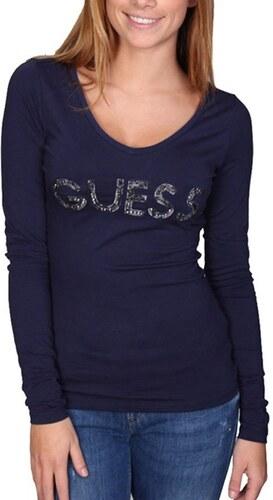 9afccb26971 Guess dámské tmavě modré tričko s dlouhým rukávem - Glami.cz