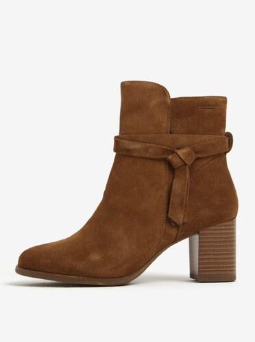 c40912c615 Hnedé dámske semišové členkové topánky na podpätku Vagabond Lottie ...
