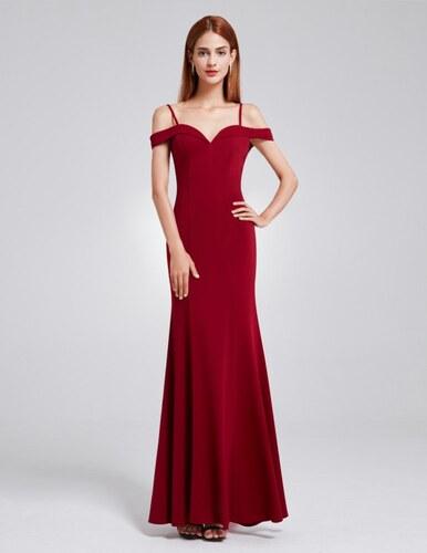 746df7431ac Ever-Pretty Vínové dlouhé elegantní dámské šaty s odhalenými rameny ...