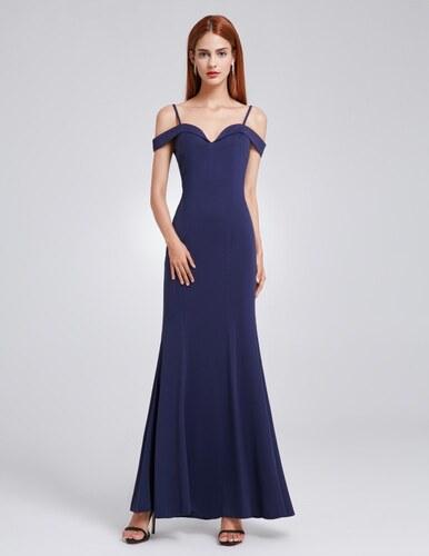 91007ede664 Ever-Pretty Tmavomodré dlouhé elegantní dámské šaty s odhalenými rameny