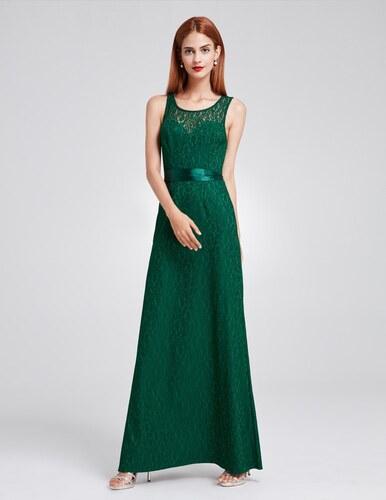 Ever-Pretty Tmavozelené krajkové šaty s mašlí v pase - Glami.sk 4571cbc503b