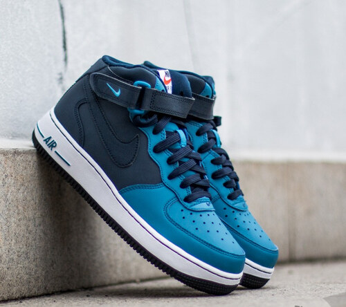 50045161583 Nike Air Force 1 Mid (GS) Obsidian  Obsidian-Brigade Blue-White ...