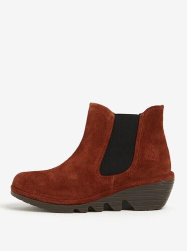 Tehlové dámske semišové chelsea topánky na plnom podpätku Fly London ... 47ed4640c98