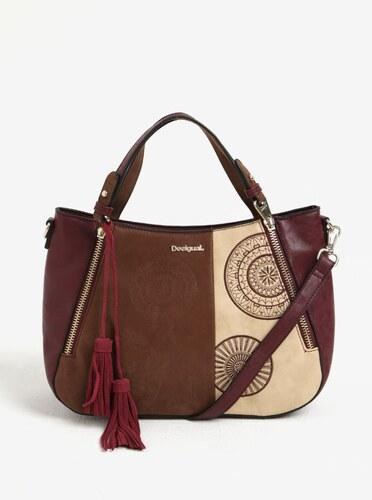 Béžovo-vínová vzorovaná kabelka so ruky crossbody kabelka Desigual Santa  Lucia Alma 8a89fdde9f2