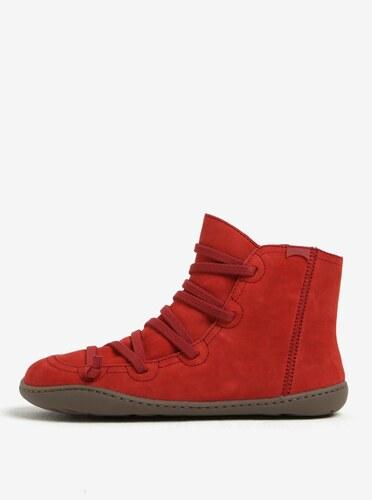 Červené dámske kožené členkové topánky so šnurovaním Camper - Glami.sk 725dc857817