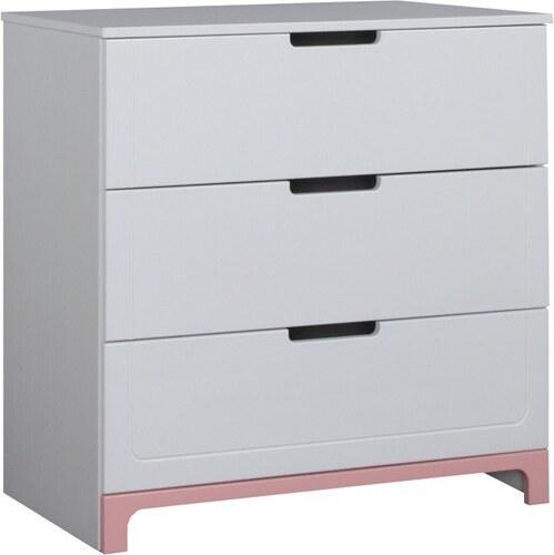 36dc555b62ce Bielo-ružová komoda s 3 zásuvkami Pinio Mini - Glami.sk