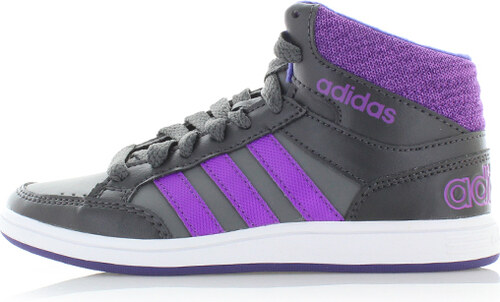 ca989d5babf adidas NEO Dětské fialovo-šedé kotníkové tenisky ADIDAS Hoops Mid ...