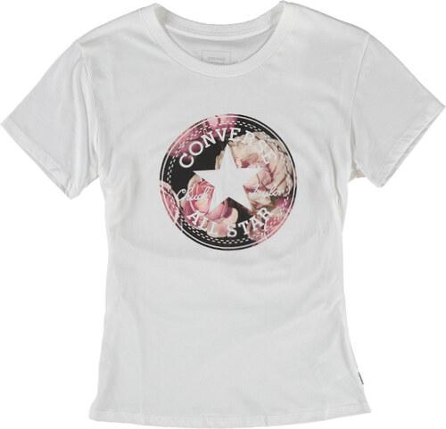 c7412a92a25 Dámske biele tričko Converse Floral CP Fill Crew Tee - Glami.sk