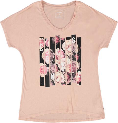 668828a0b4f7 Dámské světle růžové tričko Converse Blocked Floral Type - Glami.cz