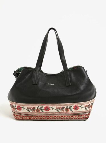 Krémovo-čierna vzorovaná kabelka s cvokmi Desigual Boston Olimpic ... 2da3e6a84e1