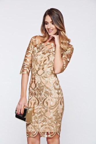 f7dac85858 StarShinerS Arany alkalmi ruha tűlből hímzett betétekkel - Glami.hu
