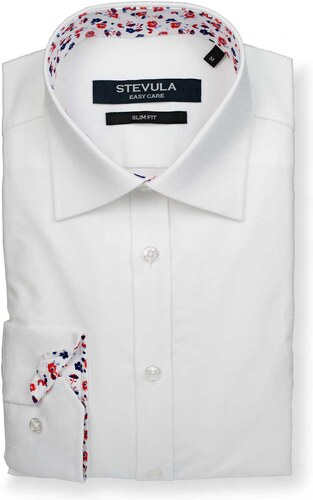 847a8a1735b6 STEVULA Biela košeľa s kvetovaným kontrastom