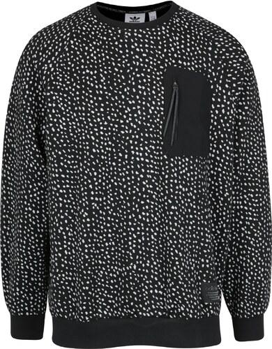Čierna pánska vzorovaná mikina s vreckom adidas Originals Crew ... 49268dce967