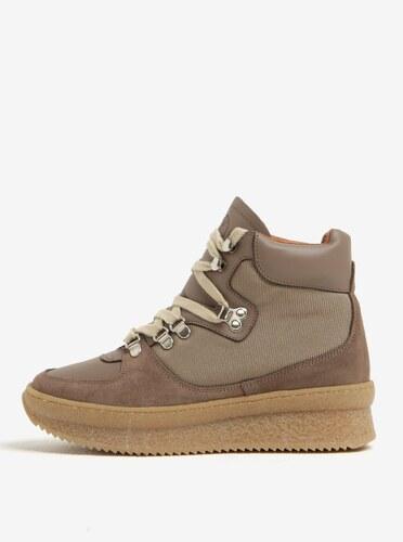 72d8b40ab3a2 Svetlohnedé členkové topánky na platforme so semišovými detailmi OJJU