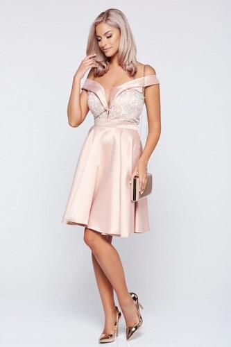 Rózsaszínű StarShinerS váll nélküli alkalmi ruha szatén anyagból ... 8e6eb2ba2f