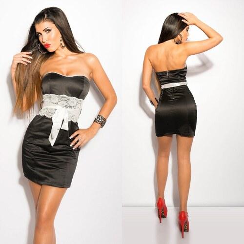 Bandeau mini šaty s krajkou a mašlí Koucla černé - Glami.cz 8a0b0c603d