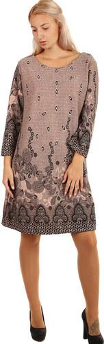YooY Dámské šaty áčkového střihu - i pro plnoštíhlé (růžová 3985ad4101