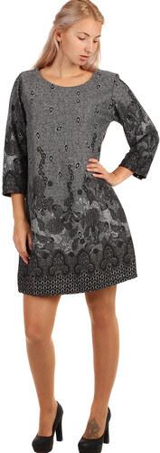 YooY Vzorované šaty áčkového střihu - i pro plnoštíhlé (světle šedá ... 1f46e96ed1