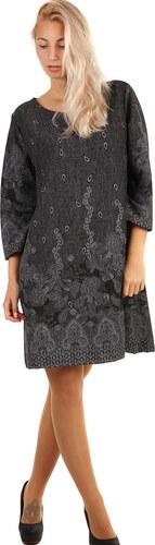 YooY Vzorované šaty áčkového střihu - i pro plnoštíhlé (šedá faeb20d375