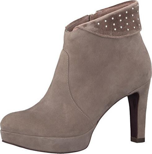 0516ee6af2c0 Tamaris Elegantné dámske členkové topánky 1-1-25947-39-362 Taupe Suede
