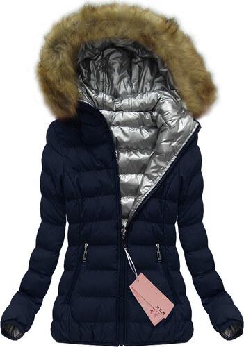 a8ebb4388646 Jejmoda.sk Dámska obojstranná zimná bunda w137 modrá - Glami.sk
