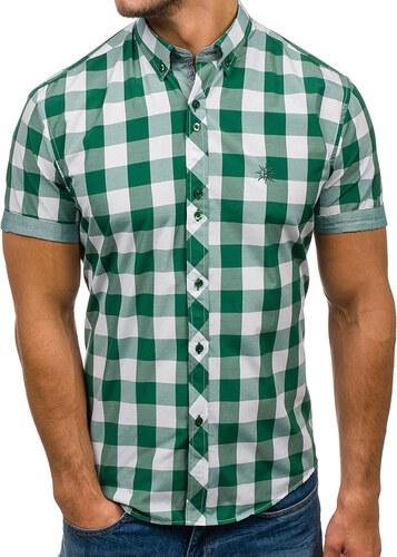15f017d9d6 Zelená pánska károvaná košeľa s krátkymi rukávmi BOLF 6522 - Glami.sk