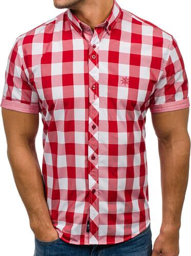 421229772253 Červená pánska károvaná košeľa s krátkymi rukávmi BOLF 6522 - Glami.sk