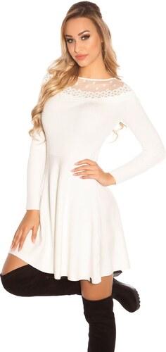 Koucla Rozšírené úpletové šaty   biele - Glami.sk e623c5224c4