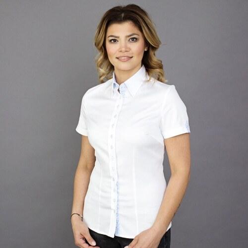 8495a89962e3 Dámska košeľa s krátkym rukávom Willsoor 7807 v biele farbe - Glami.sk