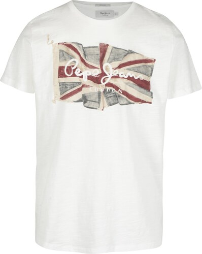 142ab2b701bb Biele pánske regular tričko s potlačou Pepe Jeans FLAG TEE - Glami.sk