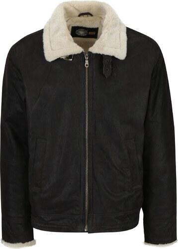 Hnědá pánská kožená bunda s umělou kožešinou KARA - Glami.cz 9fd7975ade5