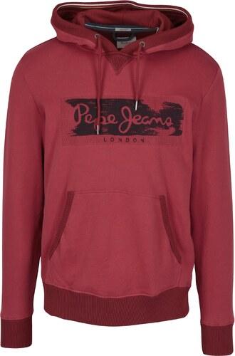 Červená pánská mikina s výšivkou a kapucí Pepe Jeans WOODWARD - Glami.cz 7b6bc78628
