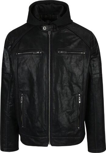 Černá pánská kožená bunda s kapucí KARA Dorian - Glami.cz 8a511e89e67