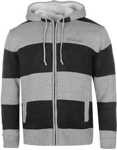 SoulCal Stripe Lined férfi kapucnis cipzáras kötött pulóver - Glami.hu 2087f1edb2